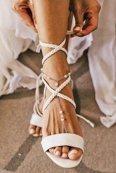 *wedding - bridal shoes, Brautschuhe 30 Wedding Sandals You'll Want To Wear Again Wedding Sandals For Bride, Boho Wedding Shoes, Cowgirl Wedding, White Wedding Shoes, Wedding Boots, Bridal Sandals, Bride Shoes, Ivory Sandals, Camo Wedding