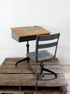 Vintage School Desk // Children's Desk by 86home on Etsy, $268.00 I used to have one of these in my room!