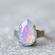 White Opal Rainbow Cocktail Ring Swarovski Crystal Pastel Rainbow Pear Adjustable Large Cocktail Ring Gold Silver Brass Mashugana