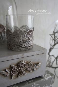 Papírcsipkés mécsestartó - PURE DESIGN #pentart #noicsizma Linux, Napkin Rings, Candles, Pure Products, Lace, Blog, Diy, Design, Home Decor