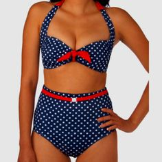 Try a retro high waisted swimsuit