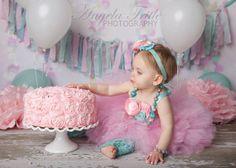 Kinley Tutu Top & Headband Pink Aqua Birthday 1st by KutieTuties