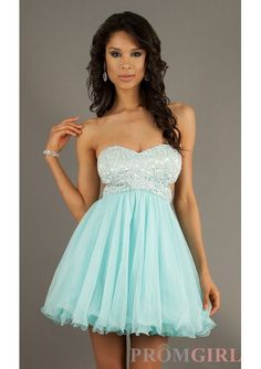 Ligth Blue Lace Bodice Short Prom Dress With Cut Out Sides