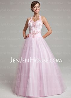 Quinceanera Dresses - $176.99 - Ball-Gown Halter Floor-Length Tulle Quinceanera Dresses With Lace Beading (021020615) http://jenjenhouse.com/Ball-Gown-Halter-Floor-Length-Tulle-Quinceanera-Dresses-With-Lace-Beading-021020615-g20615