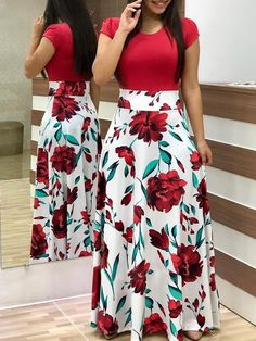 Women Dress Short Sleeves O Neck Patchwork Women Dresses Floral Printed Draped Vestidos Female Long Maxi Dress Casual Robe Size S Color short sleeve 1 Plus Size Maxi Dresses, Casual Dresses, Fashion Dresses, Short Sleeve Dresses, Summer Dresses, Fall Dresses, Short Sleeves, Party Dresses, Plunge Dress