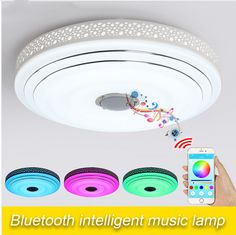 New Modern Dimmable LED Music Flush Mount Ceiling Light with Bluetooth Speaker #Mavesan