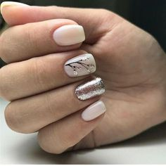 Ivory nails with silver glitter and black foliage detailing. Ivory Nails, Pink Nails, Sparkle Nails, Gelish Nails, Manicures, Hair And Nails, My Nails, Nagel Stamping, Fall Nail Art Designs