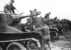 Crews take place in tanks BT-5. End of 1930