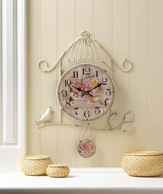 Fill the minutes of your day with charming style! This iron wall clock features a birdcage frame, and the face of the clock and matching pendelum have a pretty country scene that's filled with pink roses, butterflies and warm up of the tea, iron, paper and MDF wood. One AA battery not included. | Shop this product here: http://spreesy.com/mizticmprintz/12 | Shop all of our products at http://spreesy.com/mizticmprintz    | Pinterest selling powered by Spreesy.com