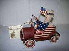 "Bethany Lowe ""Uncle Sam in Car"" Patriotic Figure (Metal with Resin Wheels)"