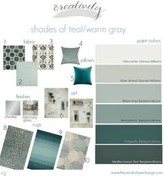 Shades of teal paint colors layered with warm gray. Great paint colors to use f. Shades of teal paint colors layered with warm gray. Great paint colors to use for this color schem Teal Living Rooms, Paint Colors For Living Room, Bedroom Colors, Bedroom Ideas, Teal Dining Room Paint, Teal Living Room Color Scheme, Great Room Paint Colors, Grey Living Room With Color, Grey Teal Bedrooms