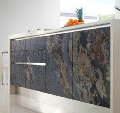 We offer a fantastic range of Natural Stone Kitchen Doors, finished in stone veneer they are lightweight and easy to install. Kitchen Interior, Kitchen Design, Kitchen Modern, Tv Wanddekor, Thin Stone Veneer, Tv Wall Decor, Floor Texture, Kitchen Doors, Furniture Decor