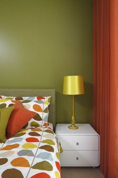Olive green bedroom with orange curtains and Orla Kiely bedding Great Suffolk Street Walls and bedside Olive Green Bedrooms, Bedroom Makeover, Bedroom Decor Design, Green Rooms, Bedroom Orange, Bedroom Green, Bed Design, Bedroom Design, Green Bedroom Walls