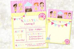 Lemonade Theme Digital Invitation  Pink by NanasPartyPrintables