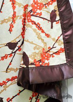 Minky Baby Blanket with Satin Trim Aviary Bark by MyWoobyandMe