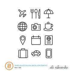 Travel Collection Digital Icon Stamp at Ali Edwards Source Travel, travel destinations, travel tips, Ali Edwards, Travel Doodles, Car App, Michigan, Tree Icon, Bussiness Card, Cute Easy Drawings, Weather Icons, Travel Aesthetic