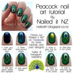 Nailed It NZ: Nail art for short nails tutorial Peacock nails Love Nails, How To Do Nails, Pretty Nails, Cute Nail Art, Beautiful Nail Art, French Nails, Peacock Nail Art, Peacock Decor, Nails Factory