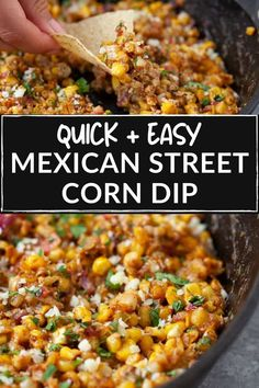 The best Mexican street corn dip! Super light and refreshing for the summer with all your beloved street corn flavors. Perfect for your next summer cookout! #appetizer #mexicanrecipes #corndip #streetcorn #gamedayfood Corn Dip Recipes, Fun Recipes, Mexican Food Recipes, Healthy Recipes, Party Side Dishes, Healthy Side Dishes, Side Dishes Easy, Yummy Appetizers, Appetizer Recipes
