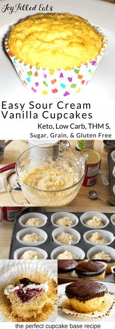 These Sour Cream Vanilla Healthy Cupcakes are perfect. They are very flavorful & moist. Gluten free, grain free, sugar-free, keto, low carb, and a THM S.