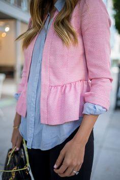 Pink Peplum Jacket - Gal Meets Glam