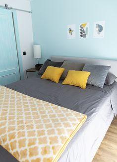 Manta Wari amarillo perfecta para la decoración de un dormitorio en amarillo mostaza. Para camas desde 170x130 cm hasta 150 cm. 100% fabricadas en España. Bed, Furniture, Collection, Home Decor, Mustard Yellow, Bed Feet, Headboards, Bed Covers, Toss Pillows