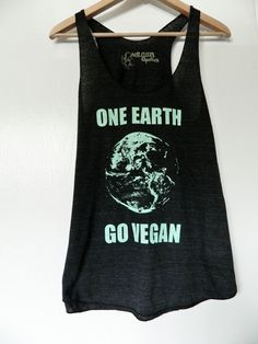 One Earth Go Vegan  / Feathered Black Women's cut by VeganPolice, $24.00
