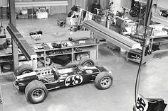 All American Racers Shop 1968 Eagle Weslake Ford Indycar in the foreground. Karl Ludvigson Photo