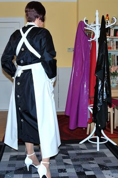 Maid Uniform, Sissy Maid, Chanel Couture, Frocks, Button Up, Apron, Satin, Things To Sell, Blouse