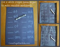 To make a reusable worksheet, just write using a white crayon before you paint on the glue, then continue with the other steps.