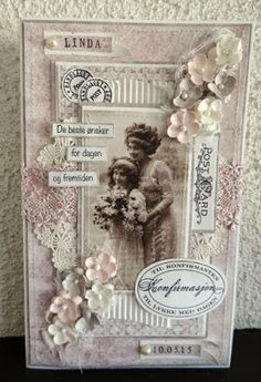 New vintage paper floral shabby chic Ideas Vintage Wedding Cards, Vintage Cards, Vintage Paper, Scrapbooking Vintage, Shabby Chic Art, Etiquette Vintage, New Baby Cards, Handmade Tags, Pretty Cards