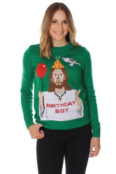 Women's Ugly Christmas Sweater - Happy Birthday Jesus Sweater Green Size M - Really Ugly Christmas Sweaters Christmas Jesus, Tacky Christmas, Christmas Decor, Christmas Ideas, Christmas Clothes, Christmas Outfits, Christmas Parties, Christmas Fashion, Green Christmas