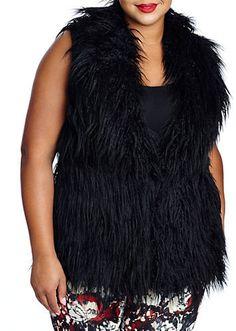 Plus Size Faux-Fur Vest