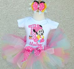 Baby Pink Blue Sweet Minnie Mouse Baby Birthday Tutu Outfit