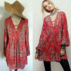 NWT M Free People Tunic Mini Top Dress ****Please note this is not the only app I use to sell ♏ too so if you see an item disappear from your (like) list is due to being sold**** Bring your inner Boho-chic out with this Tunic ( M) $128 Original Retail Value shapeless, swingy silhouette,, this effortless printed mini dress is perfect for anything! Lace-up detailing on the neckline, Free People Dresses Mini