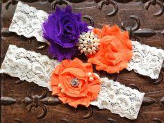 Purple and Orange Wedding Garter Purple by TheRaggedDiamond, $22.00