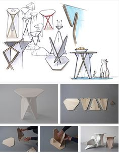 The idea of the Wedge Table was to create furniture that can be built, stored and delivered in a simple and space saving way with less hand labour involved. The reinforcing effect through the interlocking segments creates a solid structure which defines the visual character of the table. The top plate is fixed with three screws from the bottom with a conical fitted plywood piece. For storage and shipment the tables can be disassembled, stacked and packed in a small carton board box.