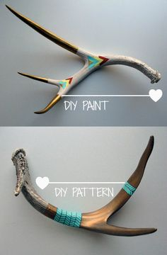 Although I have yet to acquire some antlers, I'd love to get my hands on some. Rest assured, no reindeer are harmed when it comes to ant. Cow Skull, Skull Art, Painted Antlers, Painted Deer Skulls, Antler Art, Deer Antler Crafts, Deer Decor, Skull Painting, Painted Sticks