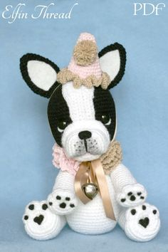 Elfin Thread- Gaspard the French Bulldog Clown PDF Amigurumi Pattern (Crochet French Bulldog)