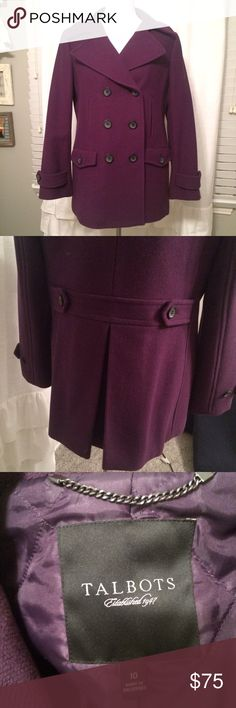 🌨TALBOTS Dark Plum Wool Pea Coat This timeless wool coat his a flattering shape that looks great on all body types. Double-breasted pea coat with inverted box pleat in the back. Fully lined. Excellent condition in a dark plum color, exceptional quality. Talbots Jackets & Coats Pea Coats