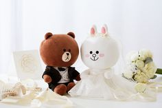 "LINE FRIENDS BROWN & CONY Wedding Costume Edition Plush Toy 10"" + Gift Bag #LINEFRIENDS #Boyfriend #BROWN #Girlfriend #CONY #RomanticFuture"