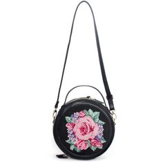 Sophia Round Black Floral Embroidery Bag ($39) ❤ liked on Polyvore featuring bags, handbags, accessories, purses, man bag, handbags purses, round bag, round purse and hand bags