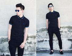 Frank Lin - Fred Perry Polo, Drykorn Black Pants, Hous Of Hounds Loafers, Topman Shades - Headless.