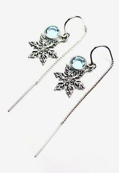 Frozen Snowflake Earrings Sterling Silver
