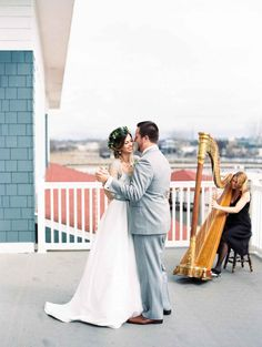 Harpist for elegant beach wedding - Easy, Breezy Chic: A Cover Shoot at The Inn at Harbor Shores | WeddingDay Magazine