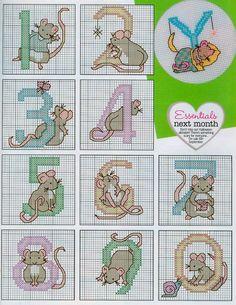 Mice Alphabet 4 end 123 Cross Stitch, Cross Stitch Numbers, Cross Stitch Letters, Cross Stitch Cards, Cross Stitch Animals, Cross Stitch Designs, Cross Stitching, Diy Embroidery, Cross Stitch Embroidery