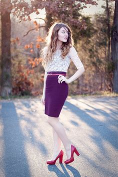 Street Outfit : White lace blouse , purple mini skirt with pink belt and red pump love this spring outfit Source : Link Skirt Outfits, Cool Outfits, Fashion Outfits, Womens Fashion, Amazing Outfits, Modest Fashion, Winter Outfits, Pink Lace Shorts, White Lace Blouse