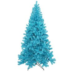 6' Pre-Lit Sky Blue Full Artificial Sparkling Tinsel Christmas Tree- Teal Lights