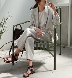 """death-by-elocution: """"Linen. Minimal Outfit, Minimal Fashion, Suits For Women, Women Wear, Clothes For Women, Vogue, Death By Elocution, Looks Style, Style Me"""