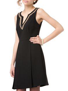 JULIE BROWN - plunging neck sleeveless dress