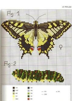 butterfly and caterpillar cross stitch pattern